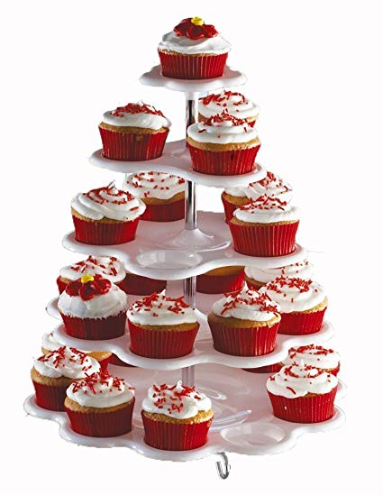 Amazon Com  5 Tiered Cupcake Holder Stand Tower White Holds 27