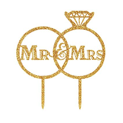 Amazon Com  Diamond Ring Mr And Mrs Wedding Cake Topper, Bride And
