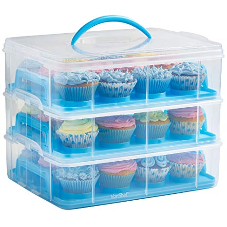 Amazon Com  Vonshef Snap And Stack Blue 3 Tier Cupcake Holder