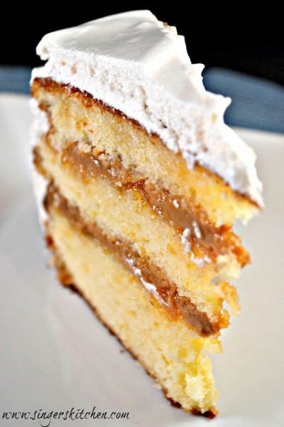Boozy Cake With Dulce De Leche And Spiked Apricot Filling