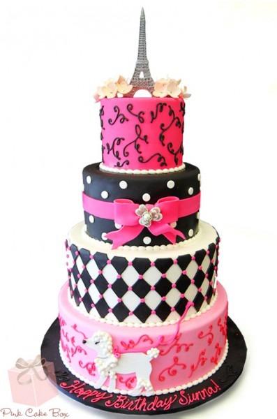 Parisian Themed Birthday Cakes