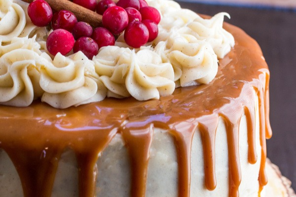 Gingerbread Cake With Cinnamon Cream Cheese Frosting And Caramel