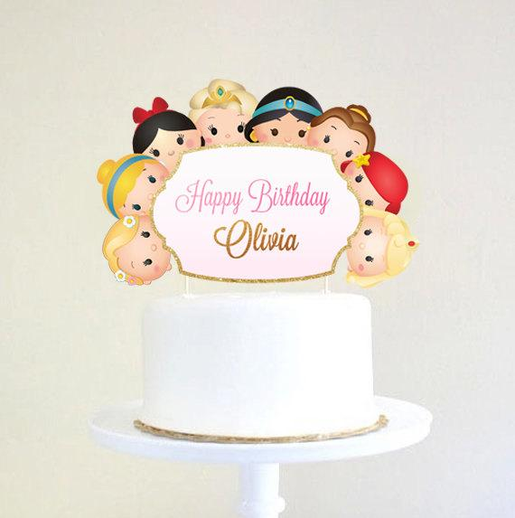 Princess Cake Topper  Tsum Tsum Cake Topper  Princess Party