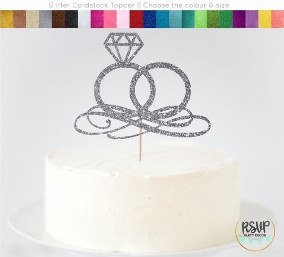 Wedding Rings Cake Topper, Engagement Rings Cake Topper