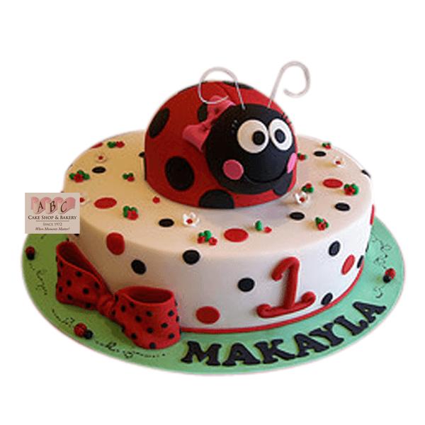 1645) 1st Birthday Ladybug Cake