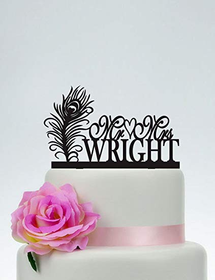 Amazon Com  Wedding Cake Topper Mr And Mrs With Surname And Heart