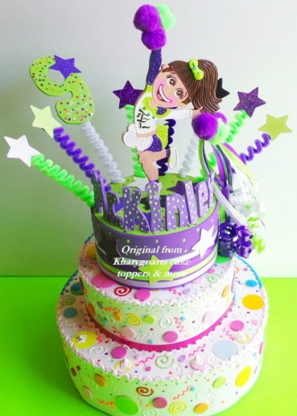 Birthday Cake Topper Cheerleader Party Centerpiece