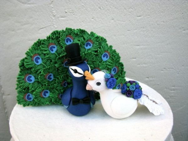 Peacock Love Keepsake Wedding Cake Topper By Theaircastle On Etsy