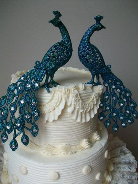 Peacock Wedding Cake Topper Art Deco Great Gatsby By Parisxox