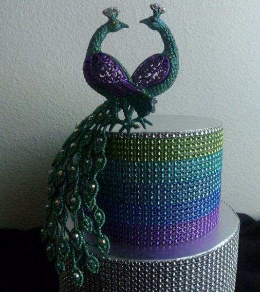 Rhinestone Peacock Cake Topper Love Birds Purple Turquoise Teal