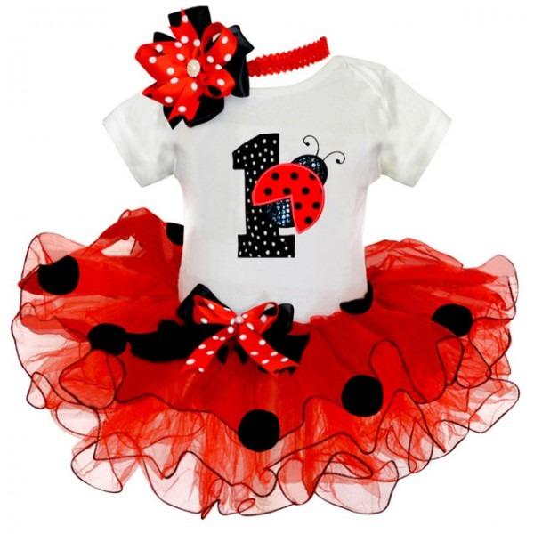 Fancy Baby Girl Ladybug 1st Birthday Party Dress Outfit Tutu Cake