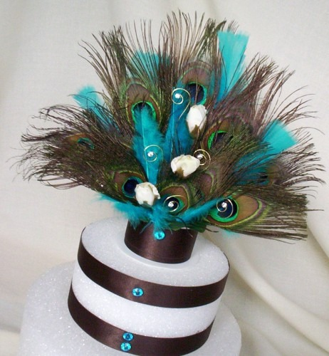 Turquoise Peacock Weddings Cake Topper Chocolate Brown Turquoise