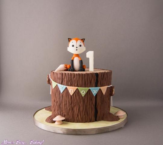 Woodland Fox First Birthday Cake