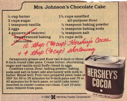 Mrs  Johnson's Chocolate Cake – Recipe Clipping « Recipecurio Com