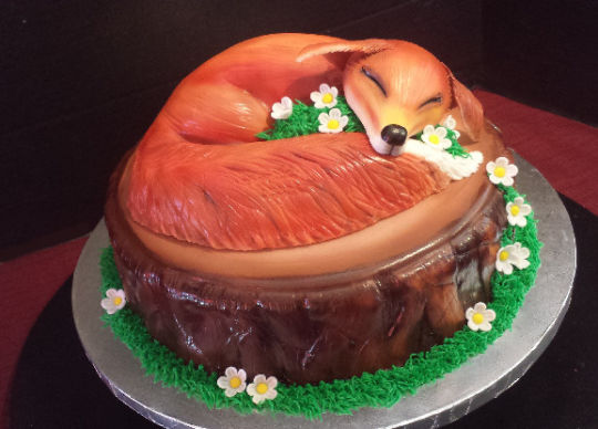 Napping Fox Birthday Cake