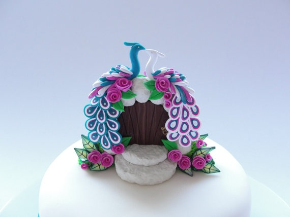 Peacock Wedding Cake Topper In Turquoise, White And Pink Colours