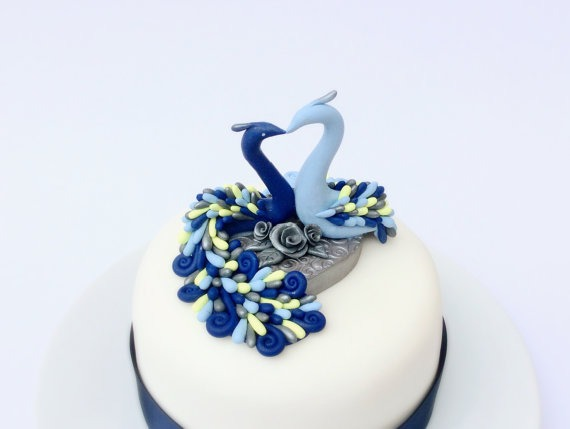 Wedding Cake Topper Peacocks In Blue, Yellow And Silver Handmade