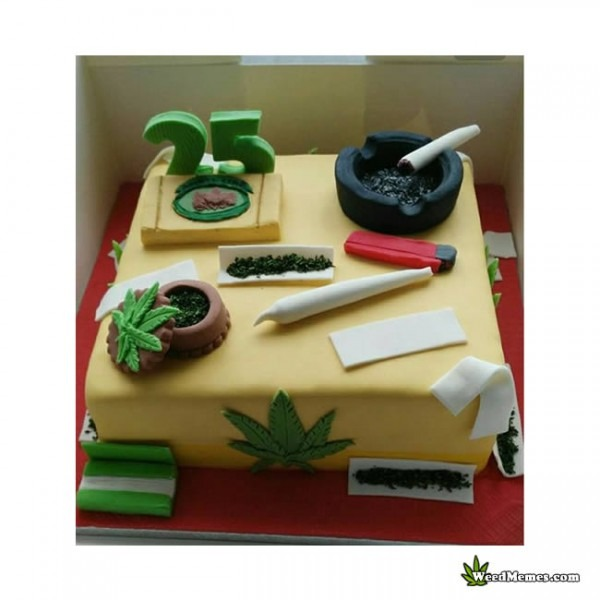 Weed Birthday Cake Square With Joint & Grinder