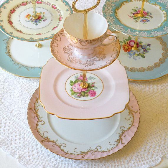 Alice Shines In Pink, Vintage China Cupcake Stand 3 Tier Display