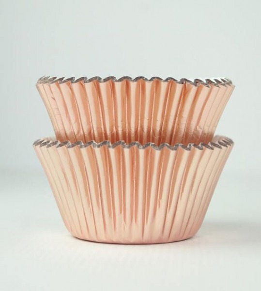 Metallic Rose Gold Foil Cupcake Liners Baking Cups
