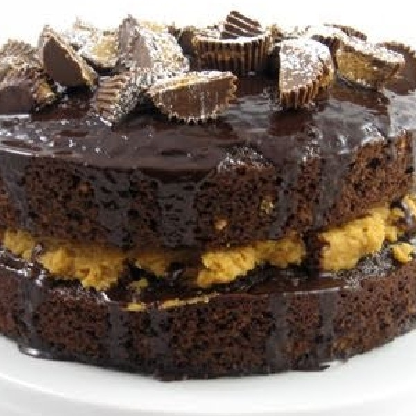 Chocolate Cake With Peanut Butter Filling And Chocolate Ganache