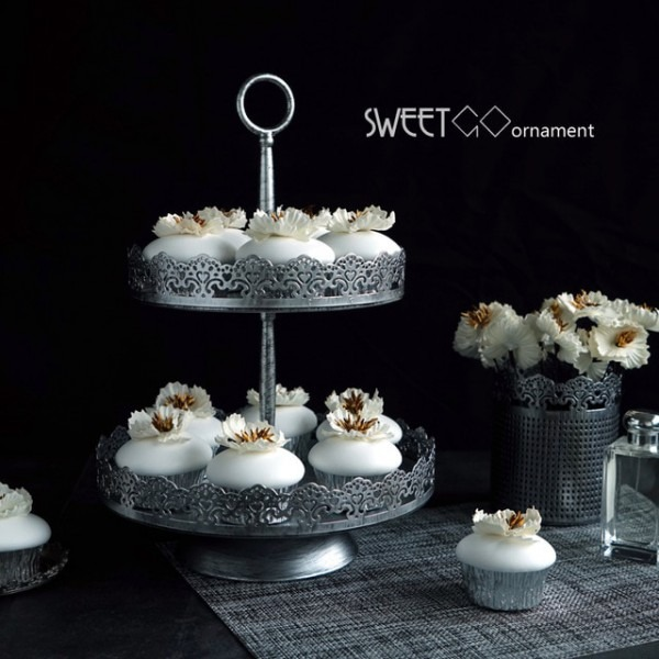 Sweetgo 2 Tiers Cupcake Stand Vintage Silver Cake Decorating Tools